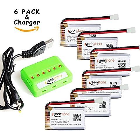 keenstone 6 piezas 3.7V 720mAh 20C Litio batería + 1PCS Cagador para Syma X5 X5c X5A X5SW X5SC X5c X5c-1 Cheerson CX-30W