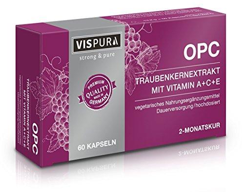 OPC Traubenkernextrakt Kapseln mit Vitaminen, hochdosiert: 325mg reines OPC, deutsches Qualitätsprodukt, 60 vegetarische Kapseln für 2 Monate