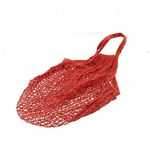 QHGstore Net Shopping Tote Baumwolle Outdoor wiederverwendbare große Kapazität Tragbare Tasche Handtasche Tasche für Lebensmittelgeschäft Strand Lagerung Obst Gemüse rot (Lebensmittelgeschäft-tasche Große)