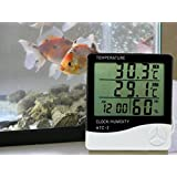 PERFECT SHOPO HTC-2 Digital LCD Thermometer Hygrometer Electronic Temperature Humidity Meter Weather Station Indoor Outdoor Tester Alarm Clock