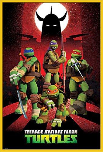 TMNT-Teenage Mutant Ninja Turtles - Shredder Silhouette Film Movie Poster - Grösse 61x91,5 cm + Wechselrahmen der Marke Shinsuke® Maxi aus Kunststoff Gelb - mit Acrylglas-Scheibe.