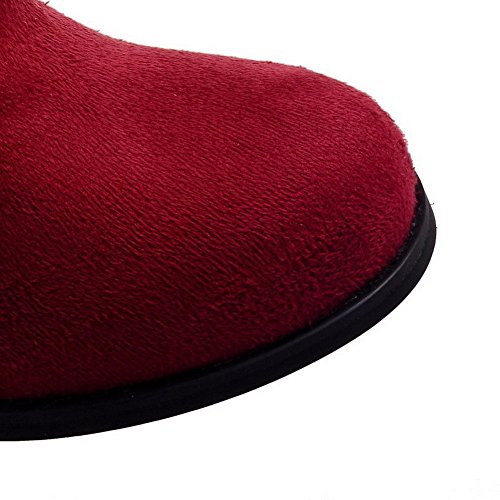 VogueZone009 Damen Mattglasbirne Rund Zehe Rein Hoch-Spitze Stiefel mit Metallisch Rot