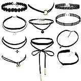 Ritche 11 Stück Tattoo Choker Halskette Samt Spitze Choker Halsketten schwarze , Tattoo Choker Für Damen ,Mädchen