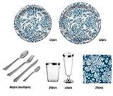 Party Planet Set de Fiesta vajilla desechable con diseño Royal Color Blanco y Azul - 12 comensales - Colección Especial