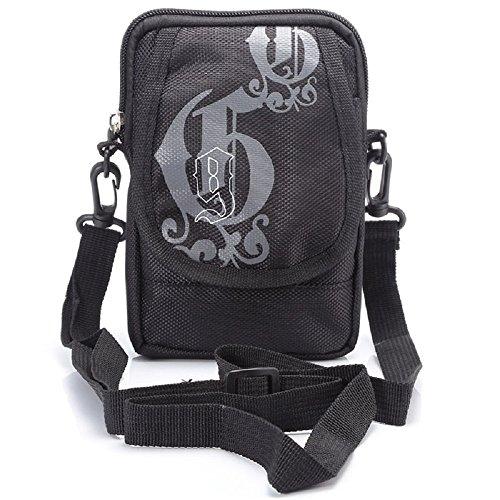 Universal Outdoor Handy/Smartphone Tasche aus wasserabweisendem Polyester mit Gürtelschlaufe und Trageriemen / 17 x 11 x 2 cm Schwarz (Schwarz)
