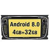 Pumpkin Android 8.0 Autoradio Moniceiver für Ford mit GPS Navi 7 Zoll Bildschirm Unsterstützt Bluetooth DAB+ WLAN 4G Android Auto Aux USB MicroSD DVD CD 2 Din