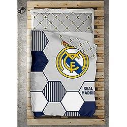 Style Real Madrid Juego Nórdico, Algodón-Poliéster, Blanco, 220x150x3 cm
