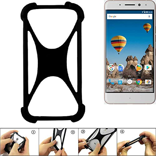 K-S-Trade Handyhülle für General Mobile GM 5 Plus Schutz Hülle Silikon Bumper Cover Case Silikoncase TPU Softcase Schutzhülle Smartphone Stoßschutz, schwarz (1x)