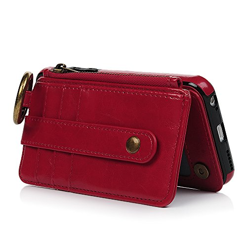 MAXFE.CO Schutzhülle Tasche Case für iPhone 6 Plus/iPhone 6S Plus PU Leder TPU Innen Schale Flip Tasche Cover Vertrennbar mit Ring Book Case Kartenfach Braun Rot