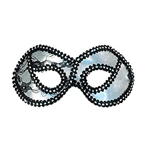 Silver Metallic Lace Domino (peluca)