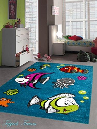 Kinderteppich Spielteppich Kinderzimmer Teppich niedliche bunte Fische Unterwasserwelt Design mit Konturenschnitt Türkis Pink Grün Grau Rot Orange Creme Schwarz Größe 120x170 cm