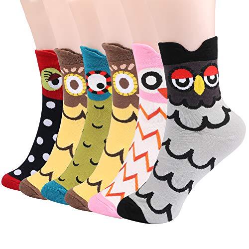 Emooqi Damen Socken, 6 Paare Baumwoll Socken Neuheit Mädchen Socken|Gemütlich Atmungsaktiv|EU Size 35~42|Lässige Socken Frauen Socken für Damen & Mädchen Tägliche Abnutzung Geschenke (Süße Eule)