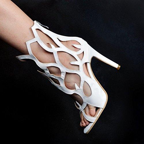 Kolnoo Damen Faschion 10cm Ausschnitt Reißverschluss Sommer Absatz Sandelholz Schuhe White JqlXKhU