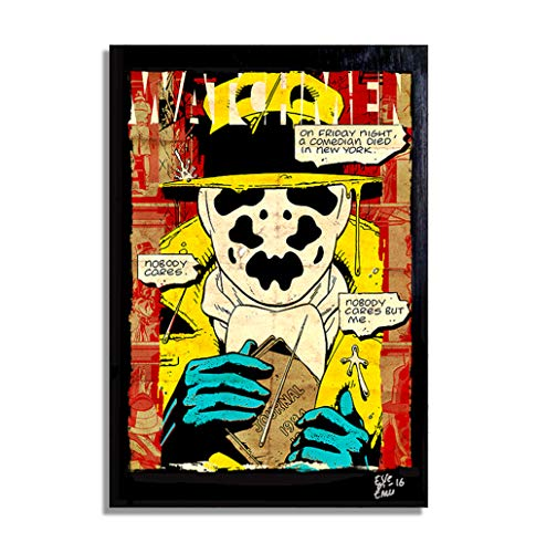 (Watchmen Rorschach DC Comics - Original gerahmt Fine Art Malerei, Poster, Leinwand, Artwork, Druck, Plakat, Leinwanddruck)
