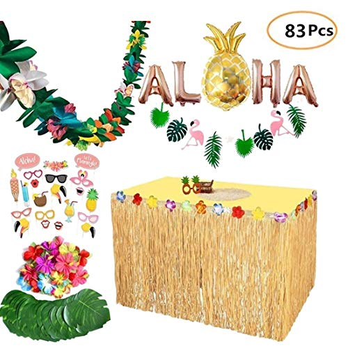 LVPY Hawaii Luau Tischröcke, 83 Stück Tropical Party Dekoration liefert Hawaii Tropical Beach Party Dekoration Simulation Leaf für Party Dekoration, Events, Jubiläen, Feiern