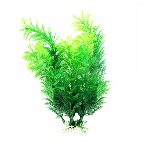 Hacoly Aquarium Pflanze Künstliche Deko Lang Blatt Pflanzen Aquarium Fish Tank Wasser Gras Pflanze Kunststoff Landschaft Ornament Grün künstliche Wasserpflanzen Aquariumpflanzen - Grün (Künstliche Stehen Pflanze)