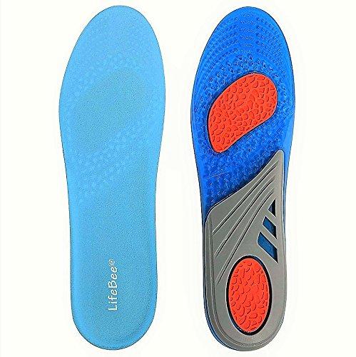 1 Paar Einlegesohlen Sport Komfort Arbeit Orthopädische, Lifebee Stoßdämpfung gelEinlegesohlen für Herren Damen, Blau/Grau (Blaue Fußbett)
