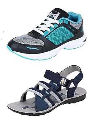 Chevit Men's Black, Blue & Grey Mesh Combo of 2 Shoes- 1 Running Shoe & 1 Floater - 10 UK/Ind.