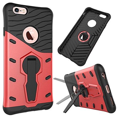 iPhone Case Cover 2 in 1 Neue Rüstung Tough Style Hybrid Dual Layer Armor Defender PC Hartschalen mit Ständer Shockproof Case für das iPhone 6 6s ( Color : Blue , Size : Iphone 6 6s ) Red