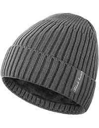 Novawo Bonnet Beanie Unisexe Doublure en Laine Épais Chaud Chapeau en Tricot  avec Écharpe Chaude 3f303953bb2
