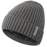 Novawo Warme Strickmütze mit Ohrenverlängerung in Unifarben, Kopfkappe