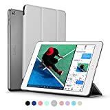 New iPad 2017 iPad 9.7 inch Case, ESR Ultra Slim Lightweight Smart Case Trifold Stand with Auto Sleep/Wake Function, Microfiber Lining, Translucent Frosted Hard Back Cover for Apple New iPad 9.7 inch 2017 Model, Silver Grey