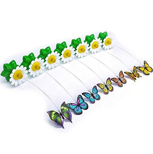 Exoh fiore farfalla in filo d' acciaio Pet elettrico rotante Cat Teaser Fly chasing InterActive Toy