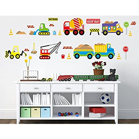 B&Y Decorative Peel Vinyl Wall Sticker Kids Baby Rooms Nursery Removable Decals - Vehicle Park by B&Y