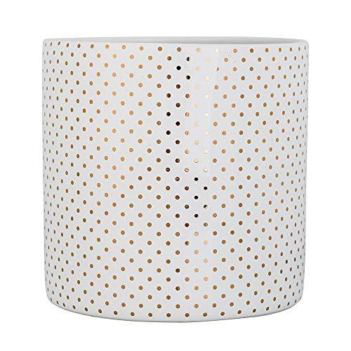 Bloomingville 75232268 Blumentopf - Keramik - weiß mit goldenen Punkten - Ø20xH20 cm