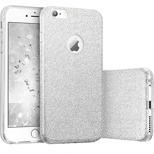 JINCHANGWU cover iPhone 6 6s glitter custodia brillante iPhone 6 6s Copertura protettiva Glitter Soft Cover TPU + Glitter Paper + PC Inner Layer [Tre in uno] - porpora viola