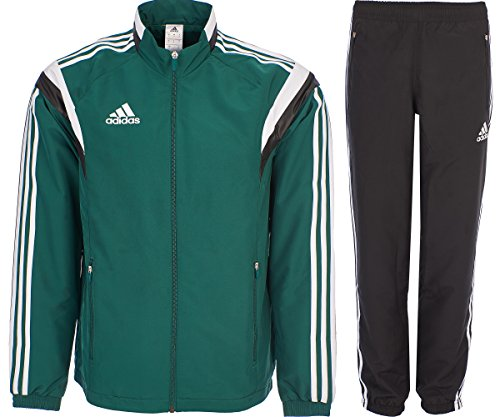 adidas Tuta da Calcio Tuta da Ginnastica di Tessuto Youth Refsuit Zip Tasche Training Set Nero/Verde XS/S/M G90430 New