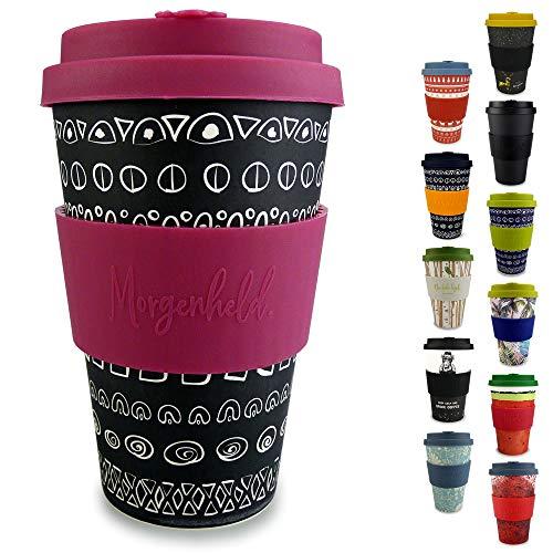 Morgenheld ☀ Dein trendiger Bambusbecher | umweltfreundlicher Coffee-to-Go-Becher | nachhaltiger Kaffeebecher mit Silikondeckel und Banderole in coolem Design 400 ml Füllmenge (Blacky - pink) -