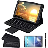Galaxy Tab A 10.1 Keyboard Case with Screen Protector & Stylus, REAL-EAGLE PU Leather Case with Detachable Wireless Bluetooth Keyboard for Samsung Galaxy Tab A 10.1 2016 SM-T580/T585 Tablet, Black