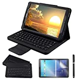 Custodia Galaxy Tab A 10.1 Bluetooth Tastiera con screen protector & stylus, REAL-EAGLE Pelle PU Custodia con Wireless Staccabile Keyboard per Samsung Galaxy Tab A6 10.1 2016 SM-T580/T585, Black