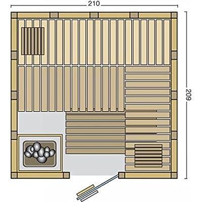 Vitalhome Sauna Topan 210 x 209 cm inkl. Ofen & Steuerung von Infraworld - Du und dein Garten