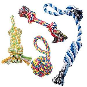 Corde Jouets pour Chiens Pecute 4 Pièces de Jouets pour pour Petits Moynne et Grande Chiens Corde avec Nœud Coton Jouets à Mâcher Durables