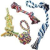 Pecute Hunde Kauspielzeug Hundespielzeug Zahnpflege Dauerhafte Baumwollknoten Seile für kleine und mittlere Hunde 4 PCs