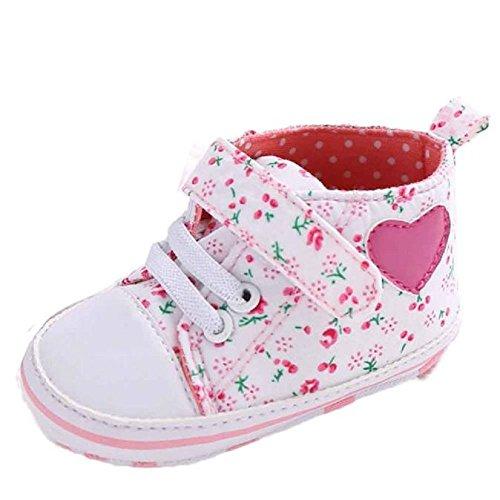 Fossen Recién Nacido Zapatos Primeros Pasos Bebe Niña Forma de corazón Antideslizante Suela Blanda...