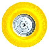 10' YELLOW SACK TRUCK TROLLEY SOLID RUBBER REPLACEMENT WHEEL TYRE STEEL RIM HAND
