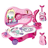 Pretend Play Makeup Set, Princess Role Play Game Children Beauty Dress up Vanity Case Violin Shape Suitcase Educational Gift for 3 4 5 Year Old Girls, 22PCS(Pink)