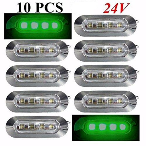 10 pièces 24 V 4 LED côté Outline Vert Feux de gabarit avec lentille transparente Cadre de chrome Camion benne de voiture caravane Bus van extérieur/intérieur Utilisation