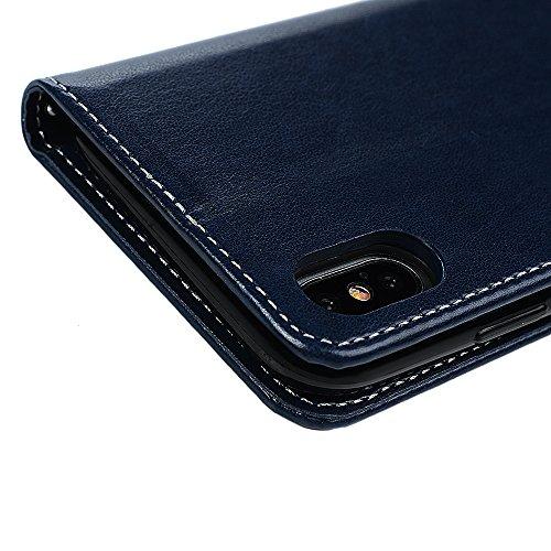 iPhone X Flipcase YOKIRIN Wallet Case für iPhone X Handyhülle Flip Case Hardcase Schutzhülle Ledertasche PU Leder Huelle Stand Halter Innere TPU Handytasche Schale Bookstyle Portemonnaie Handycase in  Po blau