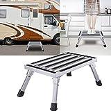 Wohl-H Escabeau pliant en aluminium stable 47 x 30 x 23 cm Charge maximale 250 kg Pour enfants âgés les personnes âgées dans le caravan camping-car SUV ou comme repose-pieds