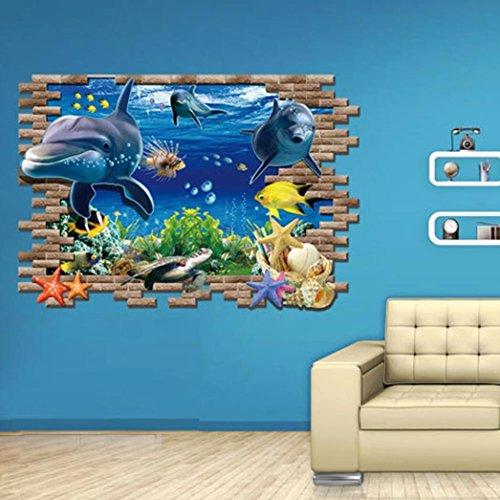 3d adesivo da parete ddlbiz adesivi murales delfino sea for Carta da parati camera ragazzi