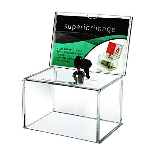 Urna con display e serratura, in plexiglass trasparente, per voto, con un lucchetto