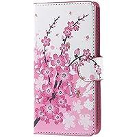 Ascend Y635 Funda Cover,Flip Case Cubrir PU Cuero Protectora Cartera Cubrir Piel Funda para Huawei Ascend Y635 Case Caso Carcasa con ranuras Tarjetas-Flor rosa