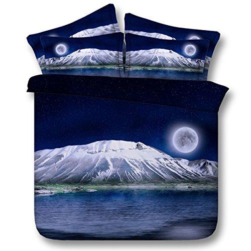Housse de Couette en Polyester Snowy Mountain sous Le Motif Moonlight avec literie, y Compris 2 taies d'oreiller et 1 Housse de Couette, 200 * 225