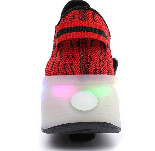 Enfants Fille Garçon Baskets Sneakers Lumineuses Clignotante Chaussures de Sport avec Colorés Homme Femme LED Chaussure de marche Chaussure à Roulettes Rouge