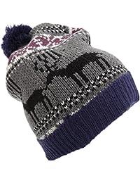 Mens Reindeer Design Christmas Chunky Bobble Hat