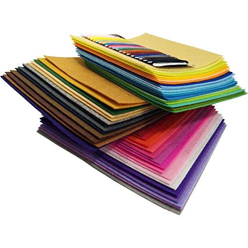 48Pcs Filzstoff Farbig Bastelfilz Steif Vliesstoff DIY Handwerk Projekte Patchwork Stoffe Filz Paket zum Nähen 20cm X 20cm X 1mm